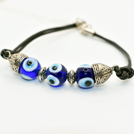 evil eye leather bracelet handmade