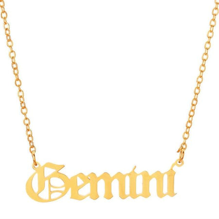 gemini script necklace gold