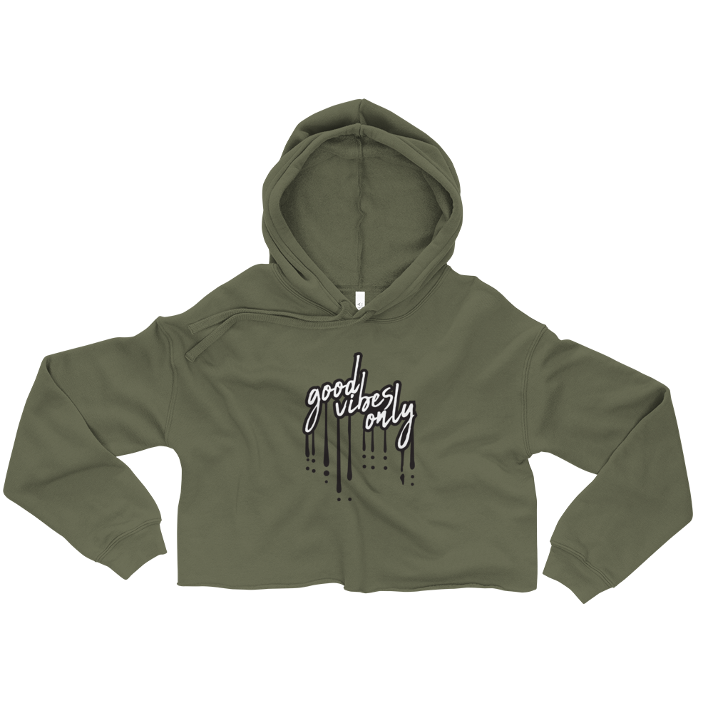Good Vibes Only - Army Green Cropped Hoodie