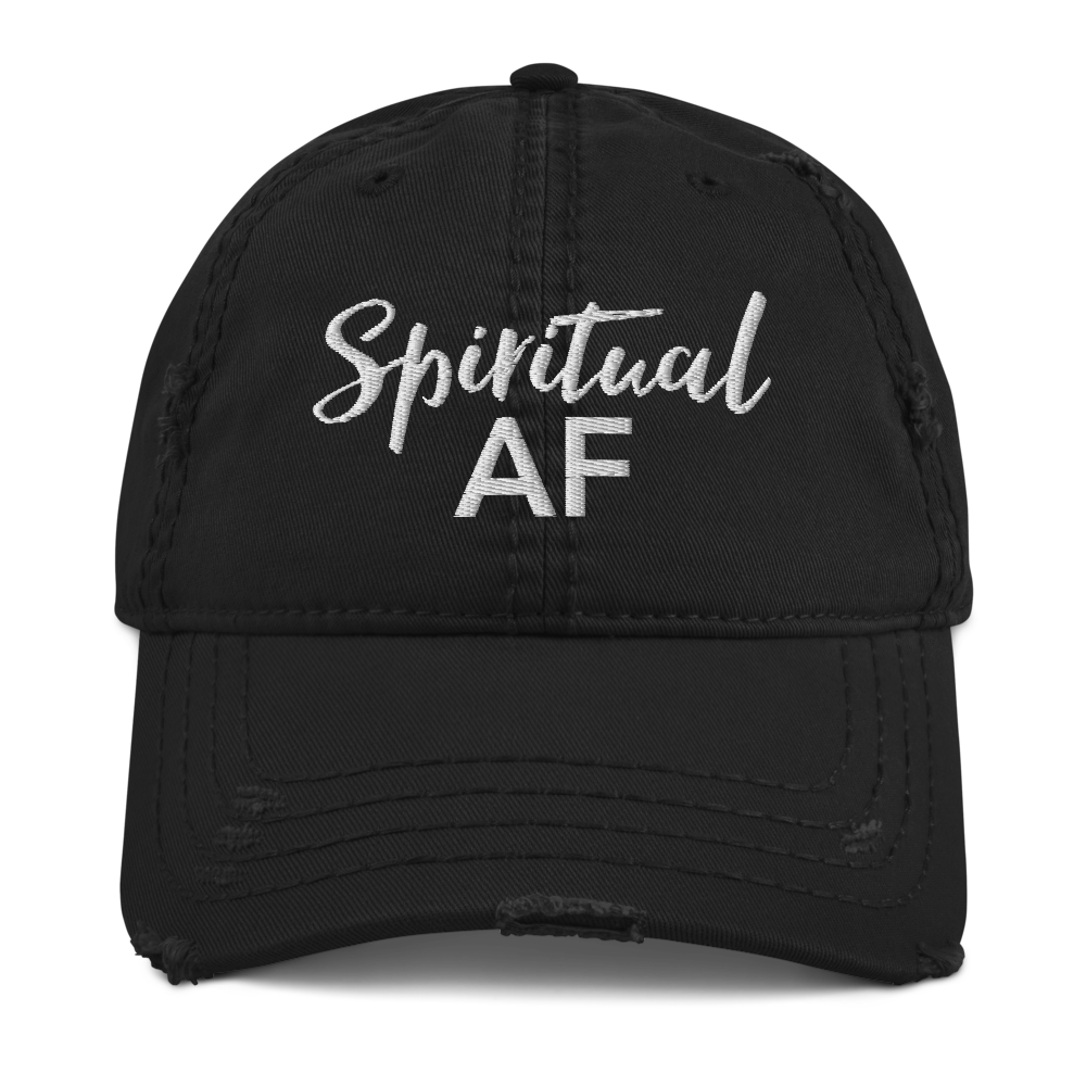 Spiritual AF Black Distressed Cap