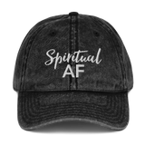 Spiritual AF Black Vintage Cotton Twill Dad Cap