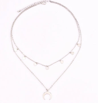 Crescent Moon Coin Multilayer Choker - Silver