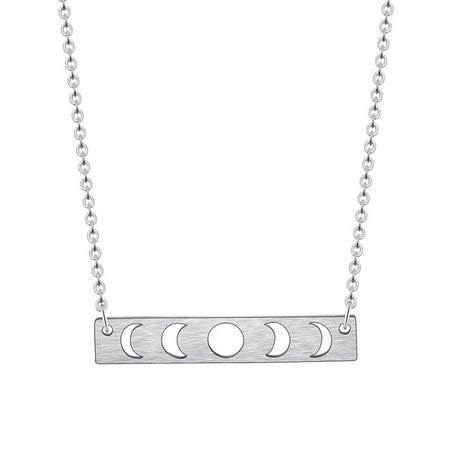 Silver Moon Phase Pendant Necklace