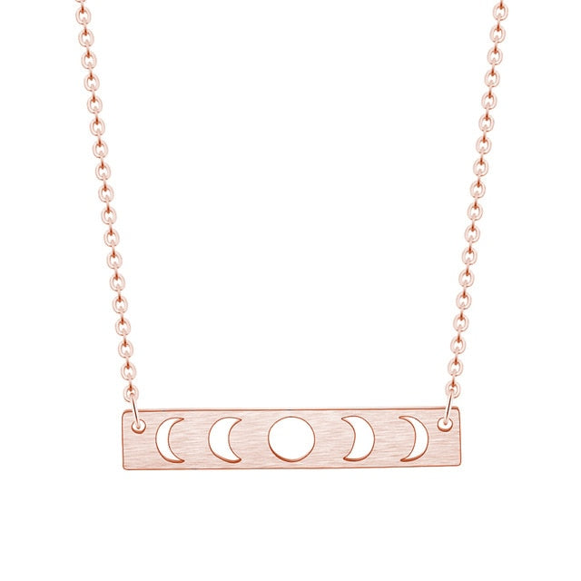Rose Gold Moon Phase Pendant Necklace