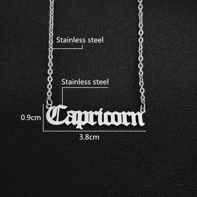 Capricorn Script Necklace - Silver, Stainless Steel