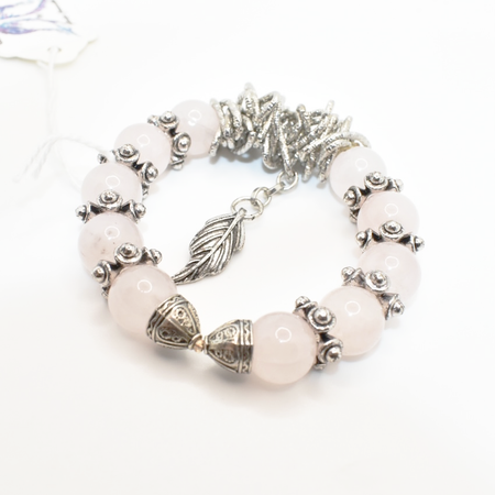 Rose Quartz & Metal Bracelet - Handmade