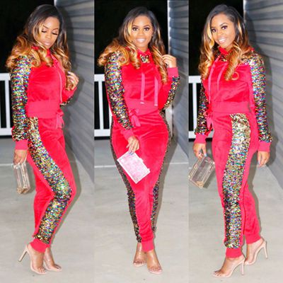 Velour Tracksuit Women Two Piece Set Velvet Sequin Tops and Pant Sweat Suit Casual 2 Piece Outfits