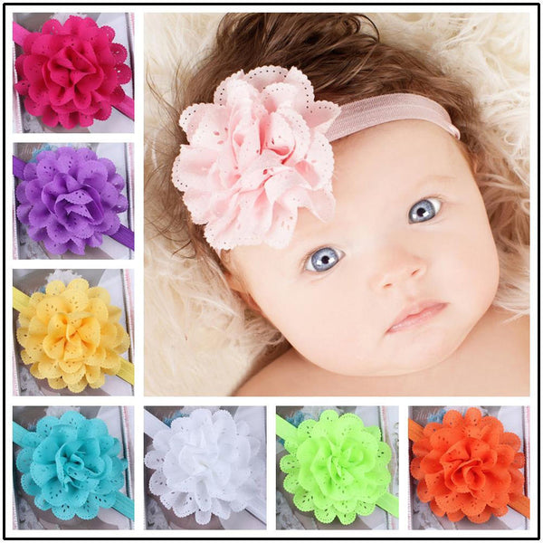Newborn Baby Girl Kid Infant Headband Foot Flower Elastic Hair Band AccessoriesS