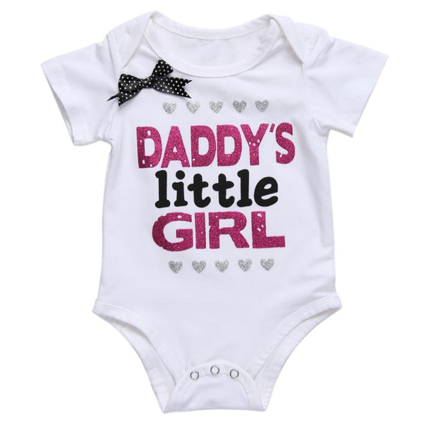 7d6638ba9db11 ... Newborn Baby Girls Clothes Summer Daddy's Little Girl Letter Print  Romper Jumpsuit Short Sleeve Baby Outfit