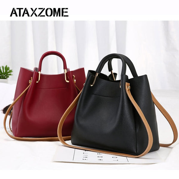 5afaadd34413 ... PU Leather Bags For Women 2018 Large Capacity Bucket Handbags Fashion Shoulder  Tote Crossbody bags for ...