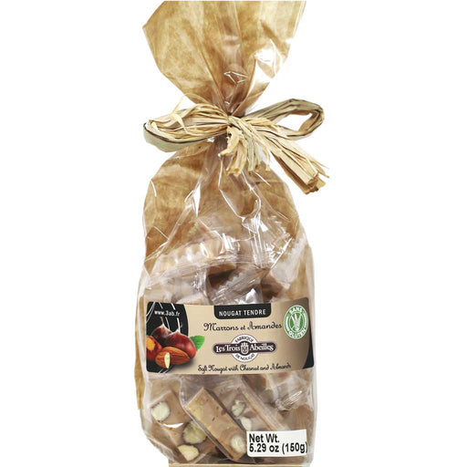 Trois Abeilles – Soft Nougat with Chestnuts & Almonds, 150g Bag