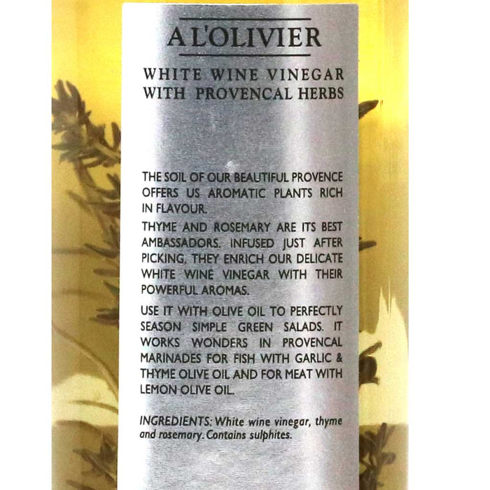 A L'Olivier - Herbs of Provence Infused Wine Vinegar, 250ml