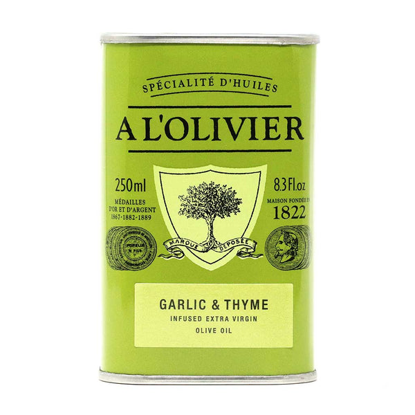 A L'Olivier - Garlic & Thyme Infused Extra Virgin Olive Oil, 250ml Tin