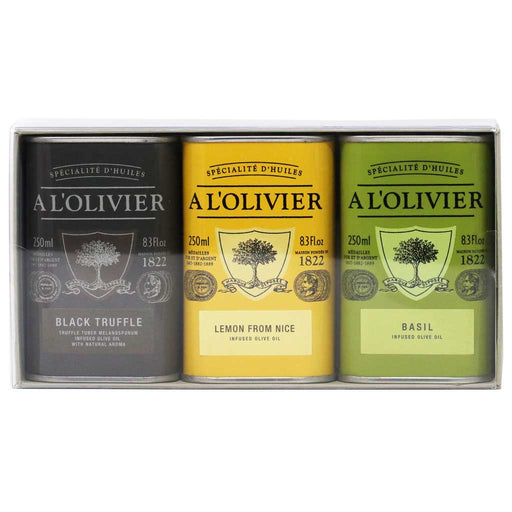 A L'Olivier - Infused Olive Oil Gift Set (Basil, Lemon, Black Truffle), 3 x 250ml