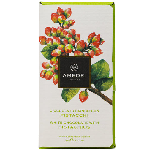 Amedei - White Milk Chocolate Bar with Pistachios, 50g