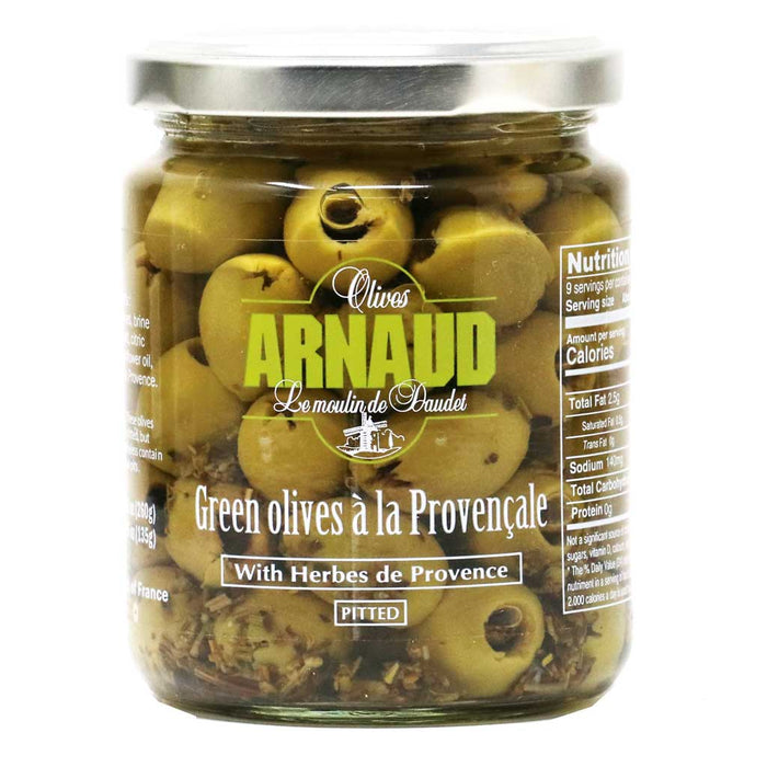 Arnaud - Pitted Green Olives with Provence Herbs, 9.2oz