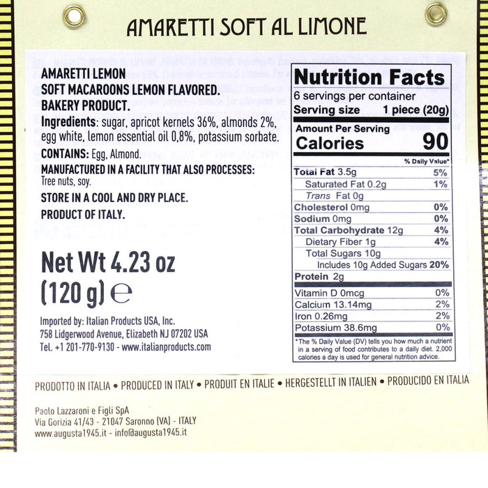 Augusta - Soft Lemon Amaretti Cookies, 4.24oz