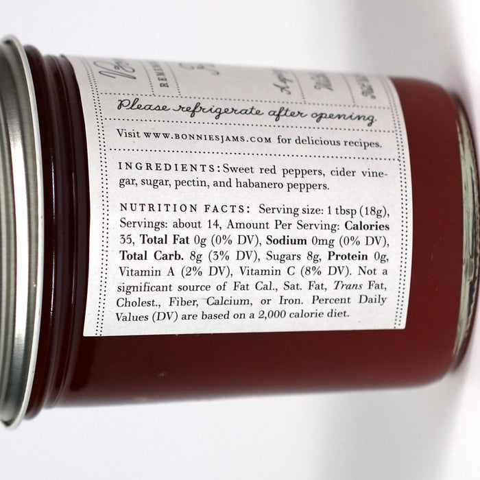 Bonnies Jams - Red Pepper Jelly, 8.75oz Jar