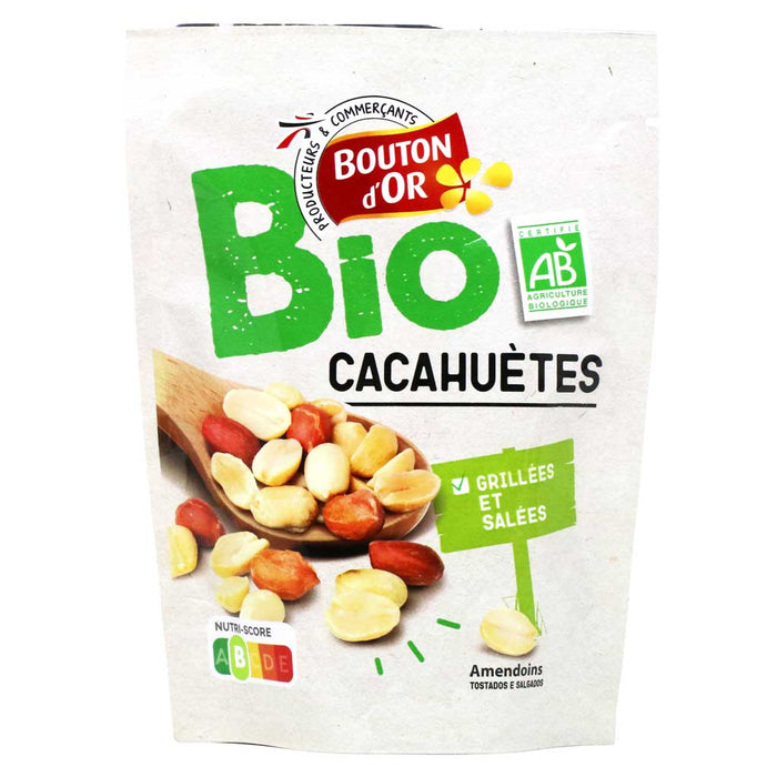 Bouton d'Or - Organic Grilled and Salted Peanuts, 100g (3.5oz) Bag