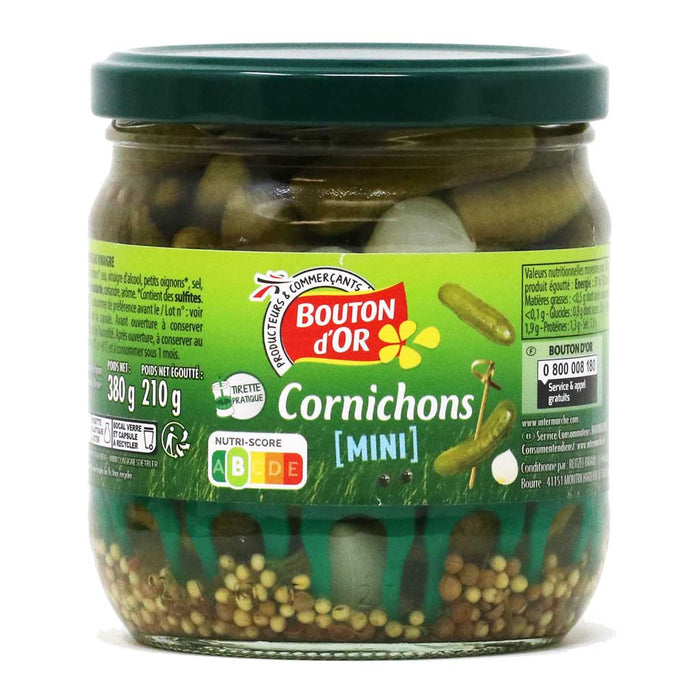 Bouton d'Or - Cornichons (Mini Gherkins), 210g (7.4oz) Jar