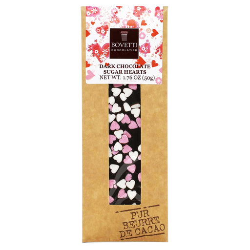 Bovetti - 73% Dark Chocolate Bar with Sugar Hearts, 50g