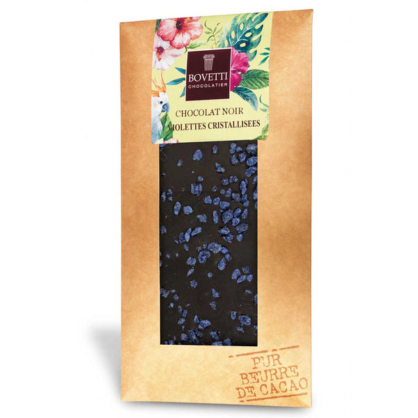 Bovetti Dark Chocolate Bar Crystallized Violet, 100g
