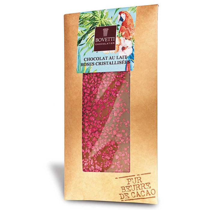 Bovetti - Milk Chocolate Bar with Crystallized Rose, 100g