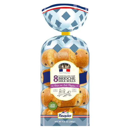 Pasquier Brioche Milk Rolls Chocolate Chips x 8, 9.8oz (280g)