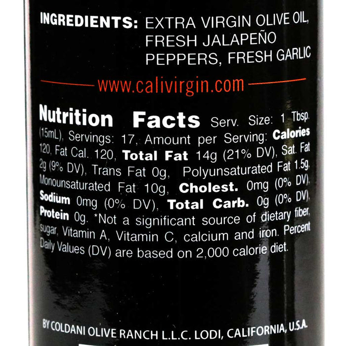 Calivirgin Jalapeno Garlic Olive Oil - 250ml