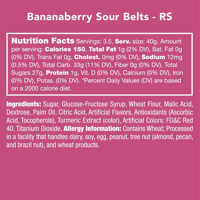 Candy Club Bananaberry Sour Belts, 6oz