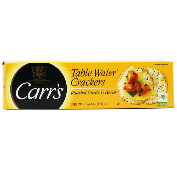 Carr's Table Water - Roasted Garlic & Herb Crackers, 4.25oz
