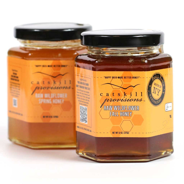 Catskill Provisions - 100% Pure Raw Wildflower Fall Honey, Kosher 12oz