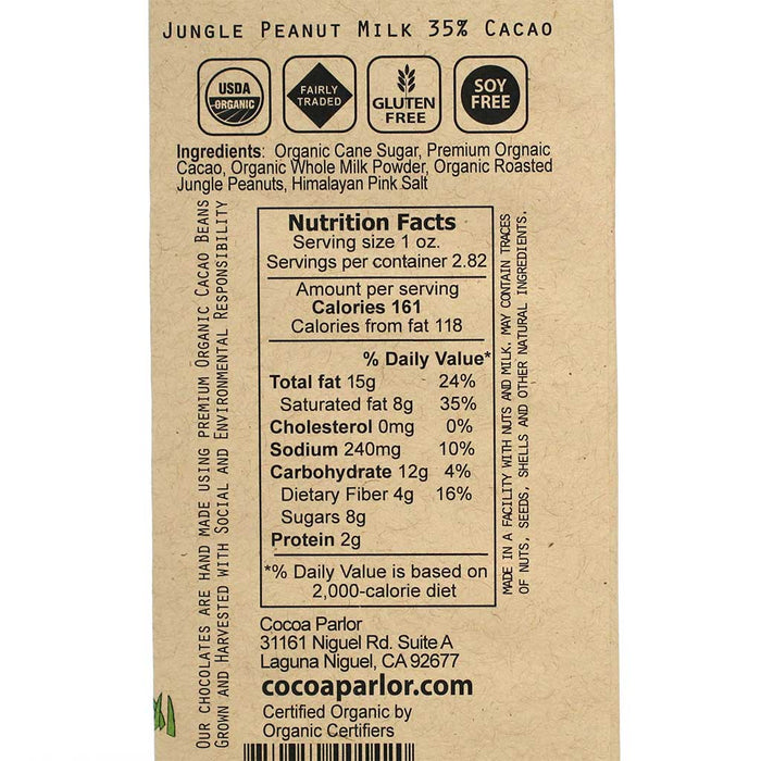 Cocoa Parlor - 35% Cacao Milk Chocolate Bar with Jungle Peanuts, 80g