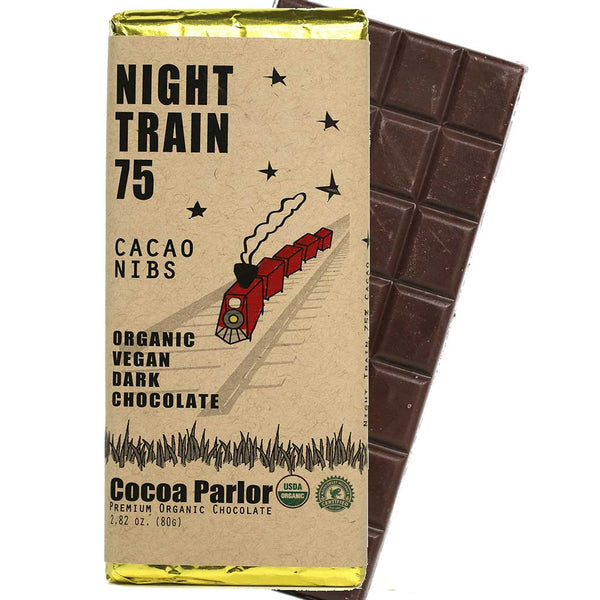 Cocoa Parlor - 75% Cacao Organic Dark Chocolate Bar with Cacao Nibs, 80g