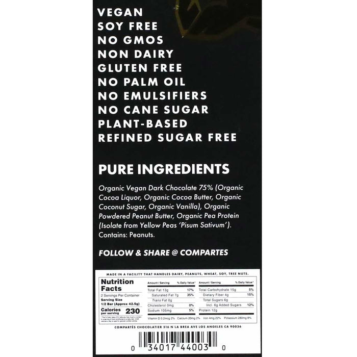 Compartes - Vegan Dark Chocolate Bar Peanut Butter Protein, 3oz (85g)