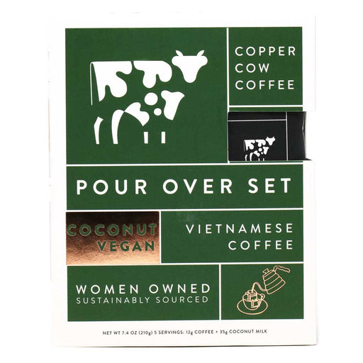 Copper Cow Coffee - Pour Over Vegan Coconut Latte Kit with Creamer, 5-Pack