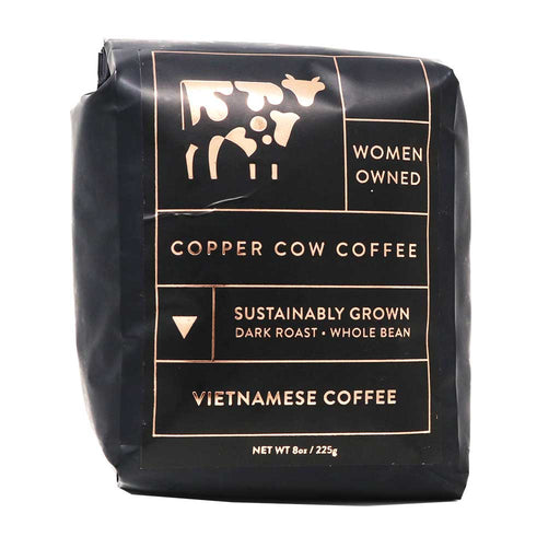 Copper Cow Coffee, Vietnamese Coffee Dark Roast Whole Bean, 8oz