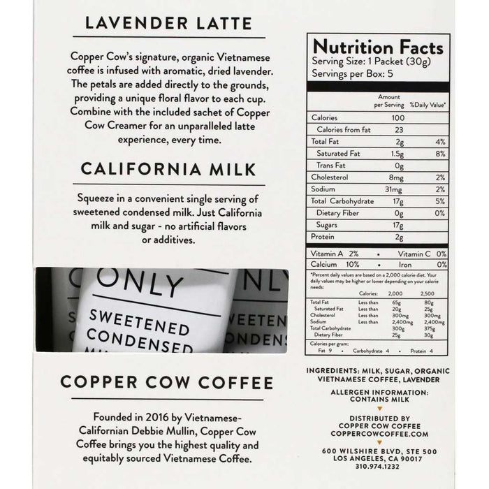 Copper Cow Coffee - Pour Over Lavender Latte Kit with Creamer, 5-Pack