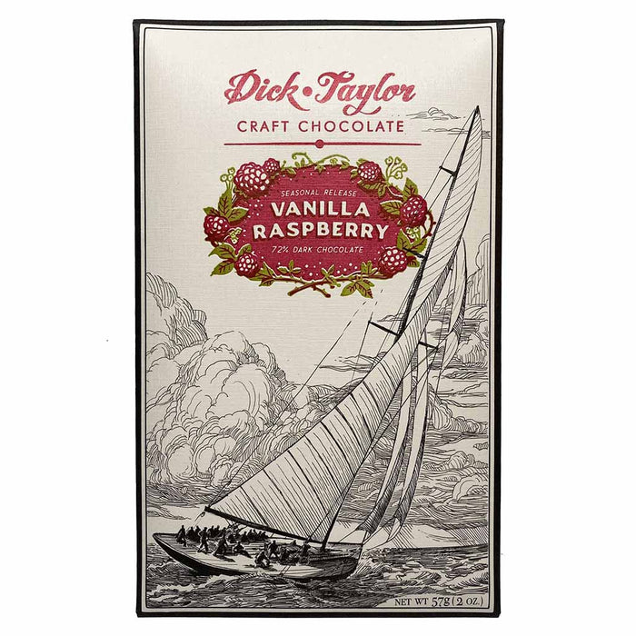 Dick Taylor 72% Dark Chocolate Bar, Vanilla Raspberry, 57g (2oz)