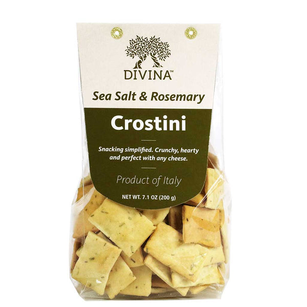 Divina - Sea Salt & Rosemary Crostini Crackers, 7.5oz Bag