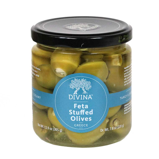 Feta Stuffed Greek Olives by Divina, 7.8oz (220g) Jar