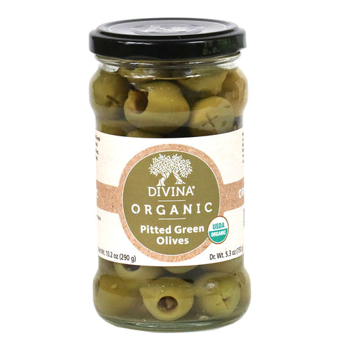 Organic Pitted Greek Green Olives, 5.3oz (150g) Jar