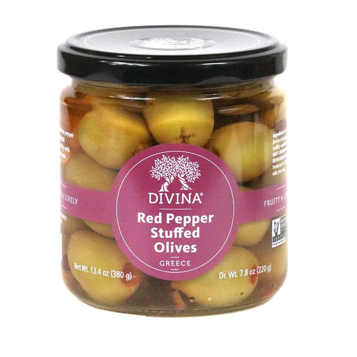 Red Pepper Stuffed Greek Olives, 7.8oz (220g) Jar