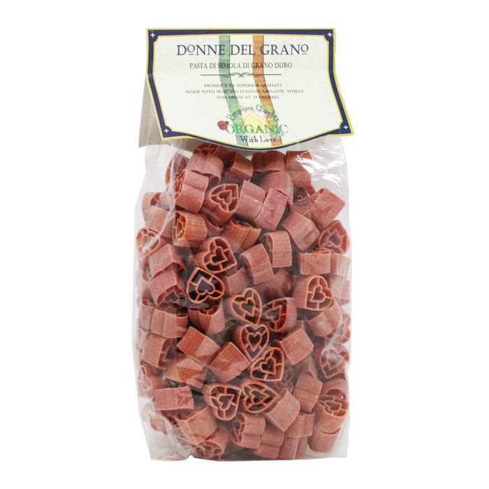 Donne Del Grano - Organic Red Hearts (Cuoricini) Colored Pasta, 17.6oz (500g)