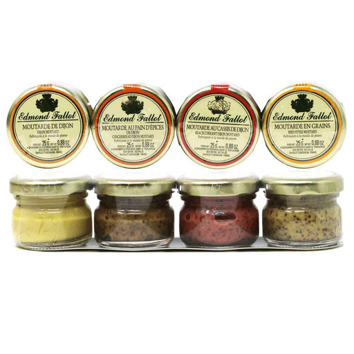 Edmond Fallot - French Mustard Sampler Tray (Dijon, Blackcurrant, Seed Style, Gingerbread Honey), 4 x 1oz Jars