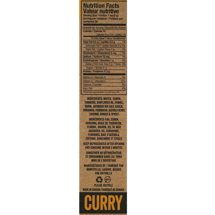 Entube - All Natural Indian Curry Chili Paste, 100g Tube
