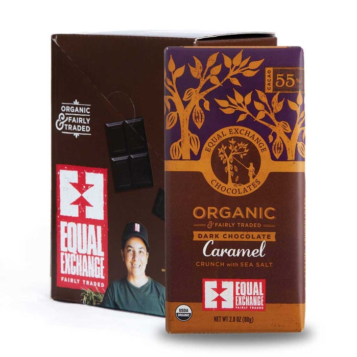 Equal Exchange - Organic Dark Chocolate Bar with Caramel Crunch & Sea Salt (55% Cacao), 2.8oz