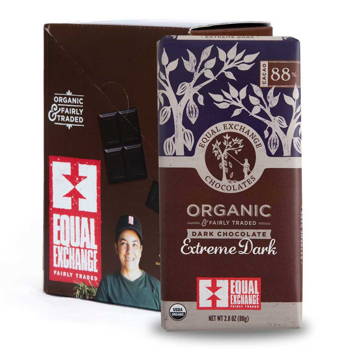 Equal Exchange - Organic Extreme Dark Chocolate Bar (88% Cacao), 2.8oz