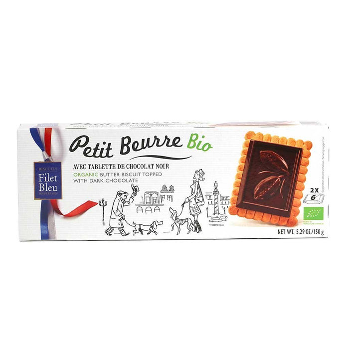 Filet Bleu - Organic Petit Beurre Biscuits with Dark Chocolate, 150g Box