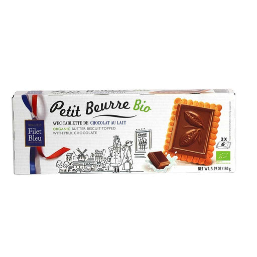 Filet Bleu - Organic Petit Beurre Biscuits with Milk Chocolate, 150g Box